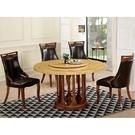 餐桌 QW-859-2 圓滿4.3尺松香黃石面圓桌 (不含椅子)【大眾家居舘】