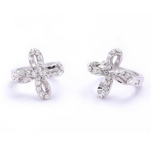 Sassy Ones時尚飾品 - 摩登輕流行 鑲鑽紐結十字造型耳環-白K色