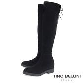 Tino Bellini義大利進口麂皮心機內增高過膝靴_ 黑  B69004 歐洲進口款