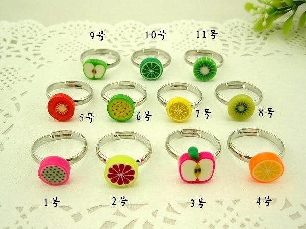 飾品精美可愛軟陶水果開口戒指