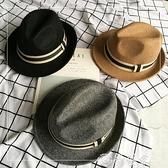 紳士帽 韓國毛呢帽子男士復古黑色毛呢小禮帽爵士帽女秋冬英倫氈帽韓版潮 夢藝