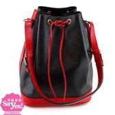 【奢華時尚】秒殺推薦!LV M44017紅黑雙色EPI麥穗壓紋肩背大水桶包(八八成新)#22638