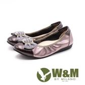 【南紡購物中心】W&M材質拼接蝴蝶結娃娃鞋 女鞋 - 古銅(另有黑)