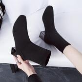 襪靴彈力針織靴短靴女高跟2019秋季新款中筒飛織方頭襪靴女粗跟瘦瘦靴 聖誕交換禮物