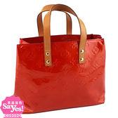【奢華時尚】秒殺推薦!LV M91088 紅色漆亮牛皮VERNIS手提方形包(八成新)#22055
