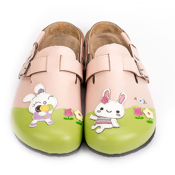 【Jingle】花園小兔前包後空軟木休閒鞋(甜美粉大人款)
