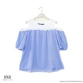 【INI】浪漫微性、小露香肩輕盈上衣.藍色