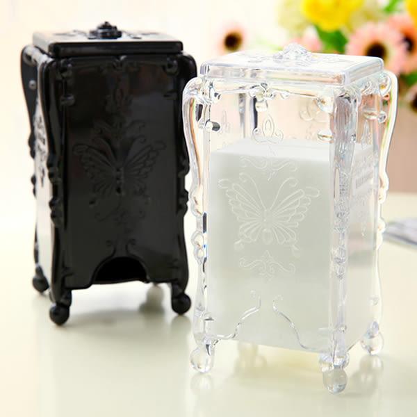 復古華麗圖騰化妝棉收納盒(1入) 黑色/透明 兩款可選【小三美日】