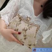 宴會包包女 復古蕾絲口金包布藝手工立體刺繡花朵手提包配旗袍女士小包包 3C數位百貨