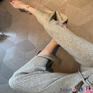 熱賣抽繩褲 羊毛針織闊腿褲女秋冬新款高腰垂感顯瘦寬鬆休閒直筒開叉拖地長褲 coco