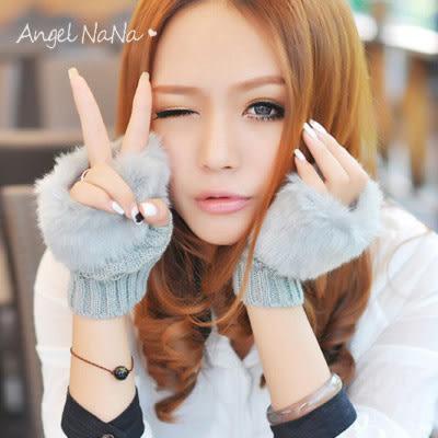 (促銷中)韓可愛仿兔毛半截手套。AngelNaNa  保暖 鍵盤 露指手套 女 (SHA0008)