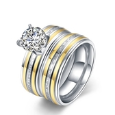 鈦鋼戒指 鑲鑽-雙層時尚精美套戒生日情人節禮物男飾品73le121【時尚巴黎】