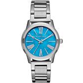 【台南 時代鐘錶 Michael Kors】MK3519 典雅羅馬時標俐落氣質腕錶 海洋藍 38mm 公司貨 開發票