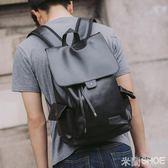 後背包 休閑男士正韓流皮背包男時尚學生書包旅行包電腦男包水桶