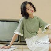 (一件免運)五分袖上衣喇叭袖t恤女夏季甜美短袖刺繡正韓小清新荷葉邊五分袖上衣學生