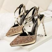 包頭 涼鞋 新交叉綁帶一字帶扣高跟鞋女細跟百搭性感水晶婚鞋 鉅惠85折