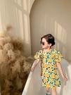 女童洋裝 碎花公主連身裙韓版泡泡袖連衣裙 花朵甜心長板上衣 88703