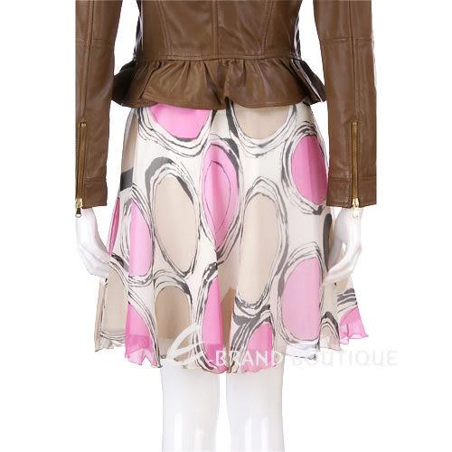 BLUGIRL 桃粉/卡其色圓點紗質及膝裙  0810378-28
