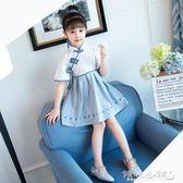 女童古裝 女童漢服連身裙兒童裝復古寶寶女孩民族中國風唐裝 傾城小鋪