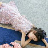 女童洋裝連身裙夏裝童裝大童短袖公主裙假兩件裙兒童洋氣裙子