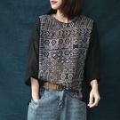 棉麻T恤 幾何圖案七分袖上衣 薄款圓領套頭衫/2色-夢想家-0325