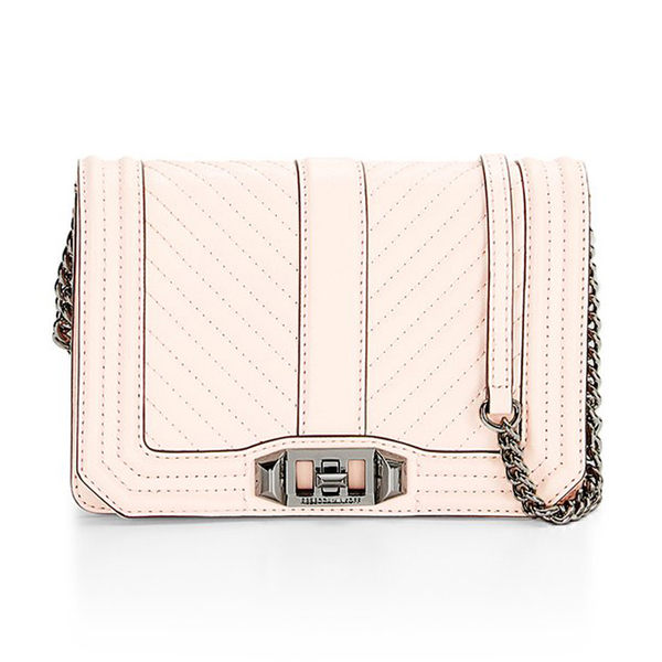 【Rebecca Minkoff 】 SMALL LOVE CROSSBODY 真皮 斜背包 肩背包 (淡粉)
