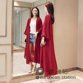 外套/夏季新款大碼開衫沙灘防曬衣女喇叭袖不規則雪紡衫長款薄「歐洲站」
