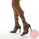 高跟涼鞋 性感歐美款羅馬綁帶細跟 高跟鞋 晚宴鞋 新娘鞋*KWOOMI-A814