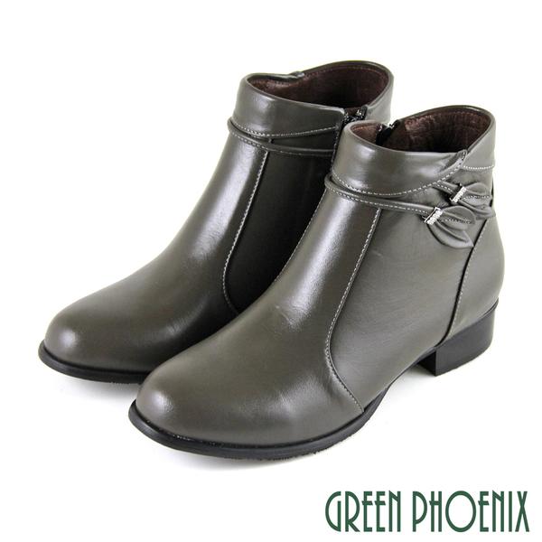 U15-20015 女款全真皮低跟短靴  反摺水鑽枝葉造型全真皮低跟短靴【GREEN PHOENIX】