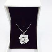 S925純銀立體浪漫玫瑰滿鑲鋯石項鍊 18K真白金 (0629)