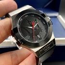 MASERATI瑪莎拉蒂男女通用錶42mm黑色錶面深黑色錶帶
