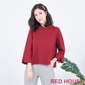 RED HOUSE-蕾赫斯-翻領拼接格紋棉上衣(共兩色)