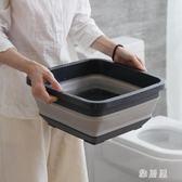 折疊水盆可伸縮桶洗臉便攜式加厚旅行戶外洗車載洗衣水盆 XW4023【雅居屋】