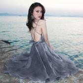 女神連身裙洋裝 超火裙子性感露背海邊度假沙灘裙吊帶裙仙女小禮服 【限時八五折】