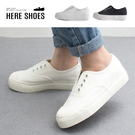 [Here Shoes]3.5cm休閒鞋 休閒百搭餅乾鞋頭 厚底套腳低筒帆布鞋 小白鞋-KSBE-8779