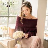 東京著衣【YOCO】慵懶美人翻領側開岔針織毛衣-S.M.L(171983)
