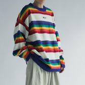 毛衣 韓國復古撞色圓領針織衫彩虹條紋毛衣 潮人男女情侶裝ins寬松上衣