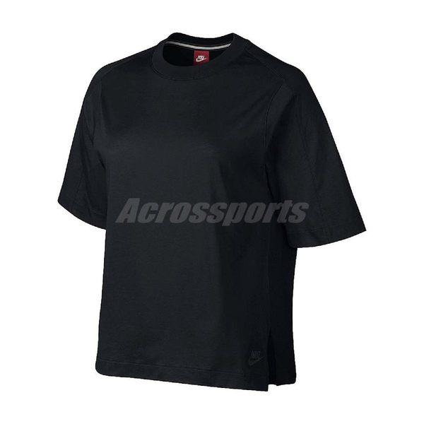 【五折特賣】Nike T恤 Wmns NSW Top Bonded 黑 落肩 寬版 女款 短袖上衣 【PUMP306】 804036-010