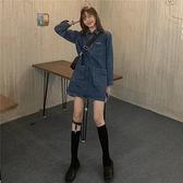牛仔洋裝減齡復古多口袋學生牛仔裙女裝裙子新款2021秋季顯瘦Polo領連身裙 伊蒂斯