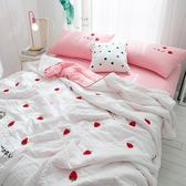 韓式可水洗毛巾繡夏涼被(含枕套)-草莓