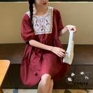 蕾絲洋裝 2020新款夏韓版復古蕾絲拼接甜美泡泡袖娃娃連身裙女寬鬆裙子 VK399