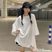 夏季韓版新款寬鬆中長款BF風白色破洞大版七分袖T恤上衣女裝