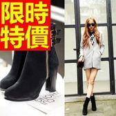 真皮短靴-繽紛甜美俏麗高跟女靴子1色62d46[巴黎精品]