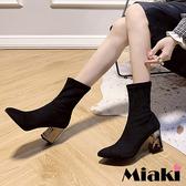 短靴.首爾時尚粗跟尖頭踝靴