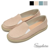 樂福鞋 防水素色壓紋皮革休閒鞋-粉