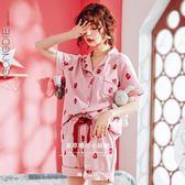 正韓睡衣女棉質短袖冬夏日繫草莓家居服套裝薄款公主風可外穿【快速出貨】