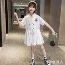 女童洋裝洋氣連身裙2020夏新款中大童韓版西裝裙女孩學院少女風雪紡裙 HR135【極致男人】