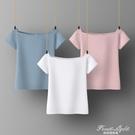 白色純棉夏季小清新t恤女短袖百搭森系修身粉色藍色露肩短款上衣 果果輕時尚