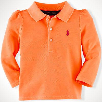 POLO Ralph Lauren 長袖上衣 Polo衫 公主袖 亮橘色 12M 18M