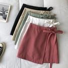 2021夏季新品韓版小清新設計綁帶高腰顯瘦甜美a字半身裙防走光女 pinkq時尚女裝